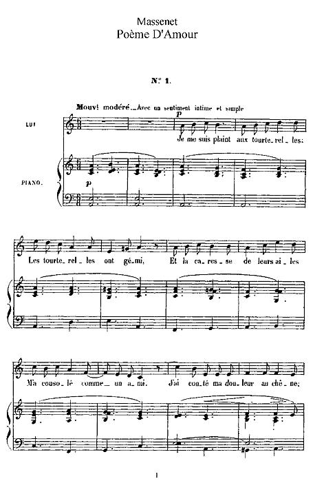 Poeme Damour Voz Piano Partituras Cantorion